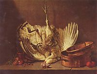 Still life with turkey hanged, chardin