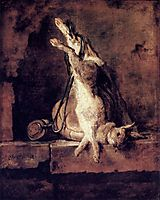 Wild Rabbit with Game Bag and Powder Flask, 1730, chardin