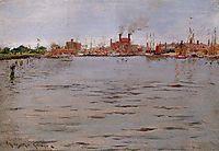 Harbor Scene, Brooklyn Docks, 1886, chase