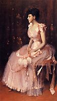 Portrait of a Lady in Pink (aka Lady in Pink Portrait of Mrs. Leslie Cotton), c.1889, chase