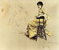 Seated Woman in Yello Striped Gown, c.1885, chase