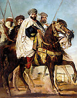 Ali­ Ben ­Hamet, Caliph of Constantine of the Haractas, followed by his Escort, 1845, chasseriau
