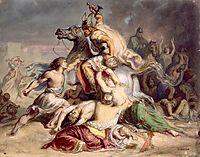 Scène de bataille, guerrier gaulois à cheval, chasseriau