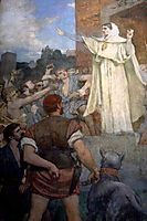 St. Genevieve makes confidence and calm to frightened Parisians of the approach of Attila, chavannes