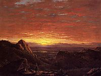 Morning, Looking East over the Hudson Valley from Catskill Mountains, church