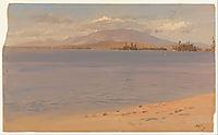Mount Katahdin from Lake Millinocket, 1878, church