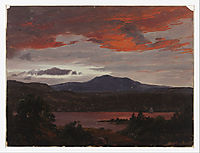 Turner Pond with Pomola Peak and Baxter Peak, Maine, 1853, church