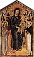 Madonna Enthroned with the Child, St. Francis, St. Domenico and two Angels, cimabue