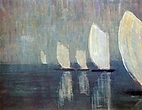 Sailing boats, 1906, ciurlionis