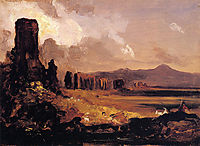 Campagna di Roma, study for -Aqueduct near Rome-, 1832, cole
