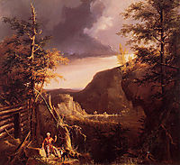 Daniel Boone Sitting at the Door of His Cabin on the Great Osage Lake, Kentucky, 1826, cole