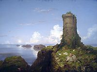 Italian Coast Scene with Ruined Tower, 1838, cole