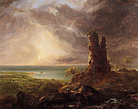 Romantic Landscape with Ruined Tower, 1832-1836, cole