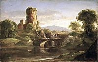 Ruined Castle and River, c.1832, cole