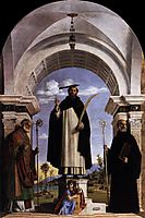 St. Peter Martyr with St. Nicholas of Bari, St. Benedict and an Angel Musician, 1504, conegliano