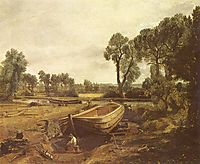Boat Building, 1815, constable