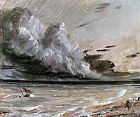 Coast scene with breaking cloud Sun, constable