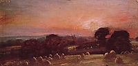 A Hayfield near East Bergholt at Sunset, 1812, constable