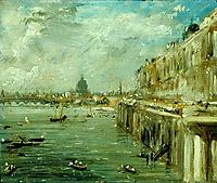Somerset House Terrace and the Thames A View from the North End of Waterloo Bridge with St. Paul-s Cathedral in the distance, constable