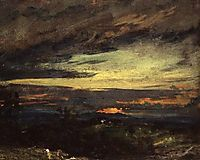 Sunset study of Hampstead, looking towards Harrow, constable