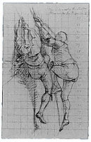 Study for The Siege of Gibraltar, Figures Scaling Floating Battery Cannon, 1786, copley
