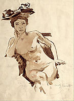 Female Semi-Nude with Hat, 1910, corinth
