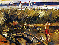 Punt in the Reeds at Muritzsee, 1915, corinth