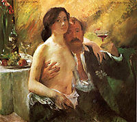Self-Portrait with his Wife and a Glass of Champagne, 1902, corinth