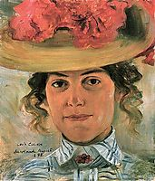Woman-s Half Portrait with Straw Hat (Luise Halbe), 1898, corinth