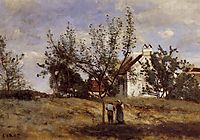 An Orchard at Harvest Time, c.1860, corot