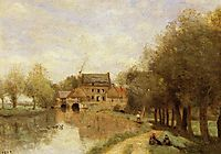 Arleux du Nord, the Drocourt Mill, on the Sensee, 1871, corot