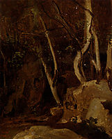 At Civita Castellana, Wooded Rocks , corot