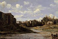 The Banks of the Midouze, Mont de Marsan, as Seen from the Pont du Commerce, 1872, corot