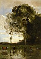 Banks of a Pond in Normandy, c.1870, corot