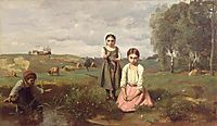 Children beside a brook in the countryside, Lormes, c.1840, corot