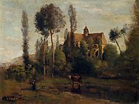 The Church at Essommes, near the Chateau Thierry, 1856, corot