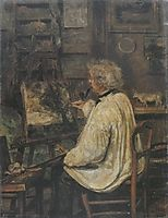 Corot Painting in the Studio of his Friend, Painter Constant Dutilleux , 1871, corot