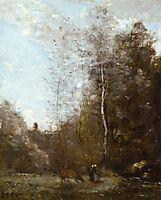 A Cow Grazing beneath a Birch Tree, c.1870, corot