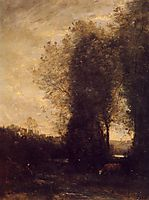A Cow and its Keeper, 1872, corot