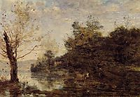 Cowherd by the Water, c.1870, corot