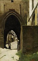 Dinan, a gate of  the town, corot