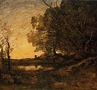 Evening Distant Tower, c.1865, corot