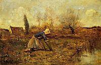 Farmer Kneeling Picking Dandelions, c.1865, corot