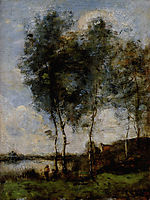 Fisherman at the River Bank, corot