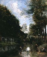 Gisors, River Bordered by Trees, c.1873, corot