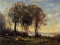 The Goatherds of Castel Gandolfo, 1866, corot