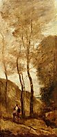 Horse and Rider in a Gorge, 1868, corot