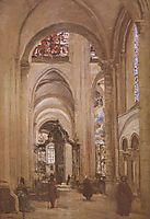 Interior of the Cathedral of St. Etienne, Sens, c.1874, corot
