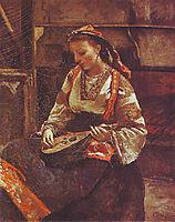 Italian Woman Sitting and Playing the Mandolin, 1870, corot