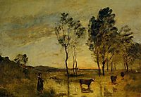 Le Gue (Cows on the Banks of the Gue), c.1875, corot